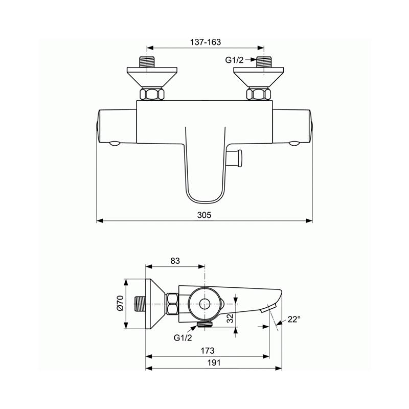 Ideal Standard Ceratherm 50 A5550AA Λουτρού Μπαταρία Μπάνιου