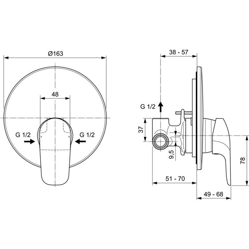 Ceraflex A6757AA Eντοιχιζόμενη μπαταρία ντουζιέρας Ideal standard A6757AA