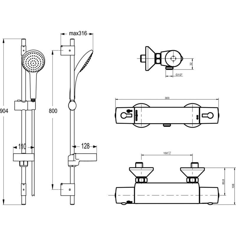 Ceratherm 50 Idealrain Ideal Standard A6368AA