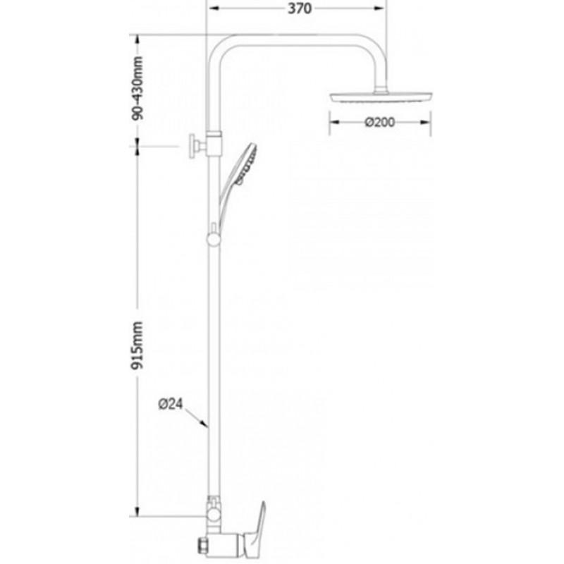 Ντουζιέρα Αναμεικτική ρυθμιζόμενου ύψους Amalthea 00-2951 Modea Viospiral